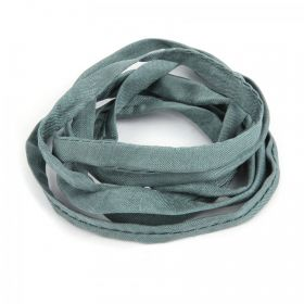 Grey Natural Silk Ribbon Cord 5mm Pre Cut 1metre