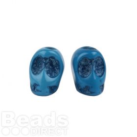 Turquoise Resin Skull Hand-Decorated Beads 11x8mm Pk5