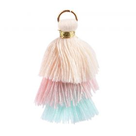Cream/Pink/Mint Triple Layer Tassel Charm 30mm Pk1