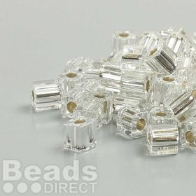Miyuki Cube Beads 4mm Silver-Lined Clear 10g