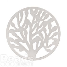 KB Matte Silver Plated Tree of Life Filigree Coin For Interchangeable Locket 32mm Pk1