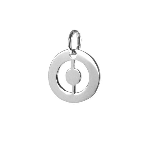 Sterling Silver 925 'O' Letter Cut Out Charm 11mm Pk1