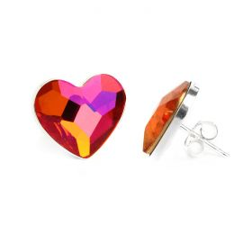 Ready To Wear Sterling Silver 925 Astral Pink Heart Earrings w/Swarovski Crystal