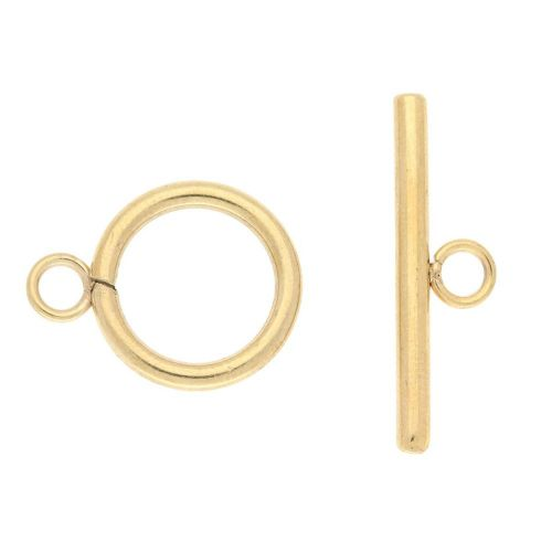 Classic toggle clasp / surgical steel / 1pcs / 19.5x15mm + 7x25mm / gold / loop 3mm