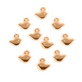 Rose Gold Plated Zamak Small Bird Charm 5x8mm Pk10