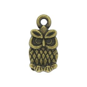 Owl / charm pendant / 14x7mm / antique bronze / 4pcs