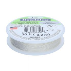 Beadalon ™ / flexible jewellery wire / 7 strand / 0.38mm / Light silver / 9.2m
