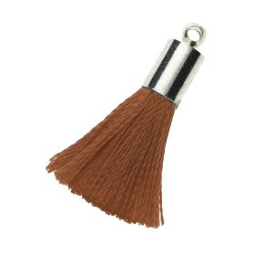 Tassel / viscose thread / silver end cap / 25mm / brown / 1pcs