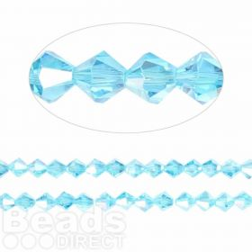 Essential Crystal 6mm Bicones Turquoise AB Pk50