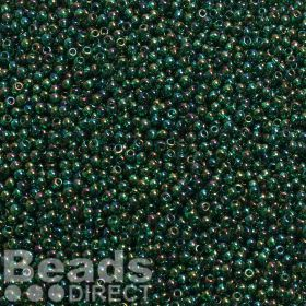 Toho Size 11 Round Seed Beads Trans-Rainbow Green Emerald 10g