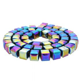 Hematite / faceted cube / 8x8x8mm / opalescent/ 48pcs