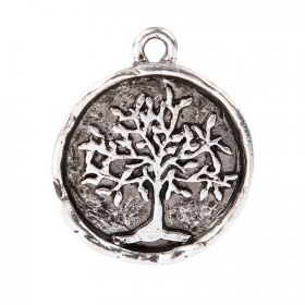 Nunn Design Antique Silve Tree of Life Round Charm 20mm Pk1