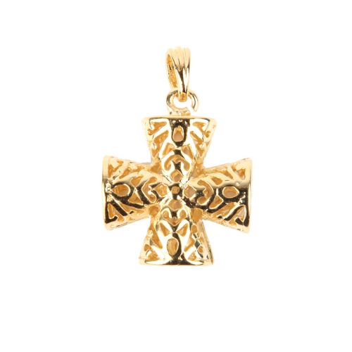 x Gold Plated Filigree Cross Hollow Charm with Bail 17mm Pk1