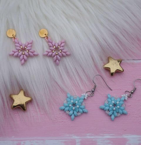 How to make beaded star earrings using SuperDuo beads - jewellery making tutorial