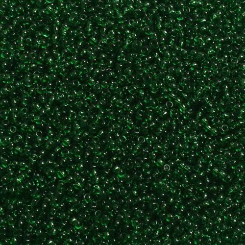 Toho Size 11 Round Seed Beads Transparent Grass Green 10g