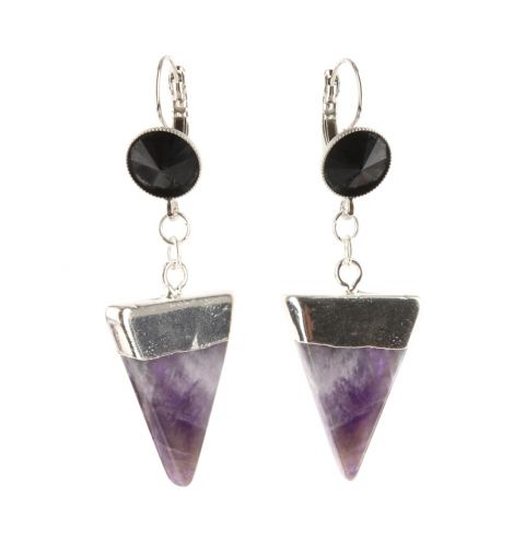 Amethyst Tri Drop Earrings