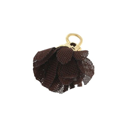 Tulle flower / with openwork tip / 18mm / Gold Plated / dark brown / 4 pcs