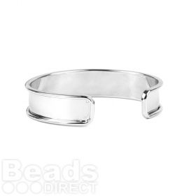 Rhodium Plated Brass Bangle Base 14.5x66mm Pk1
