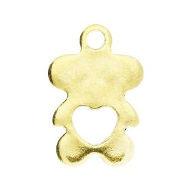 Teddy bear with heart / pendant / surgical steel / 11x7mm / gold / hole 1.5mm / 2pcs