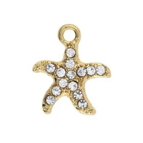 Glamm ™ Starfish / charm pendant / with zircons / 15x13x2mm / gold plated / Crystal / 2pcs