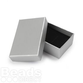 Matte Silver Small Rectangle Jewellery Box 5x8x2.5cm with Foam Pad Pk1