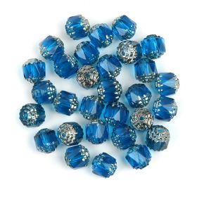 Preciosa Pressed Cathedral Beads Blue/Silver 8mm Pk30