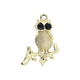 Glamm ™ Owl / charm pendant / with zircons / 32x20x3.5mm / gold plated / black crystal / 1pcs
