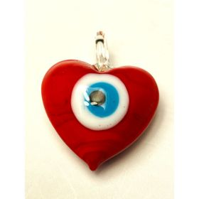 Eye of the Prophet / glass / charm pendant / opaque red / 3x3.8x1.7cm / 1pcs