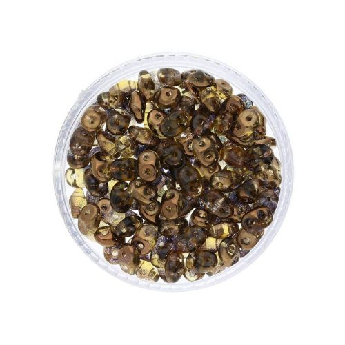 SuperDuo™ / glass beads / 2.5x5mm / Luster Bronze / Topaz / 10g / ~140pcs