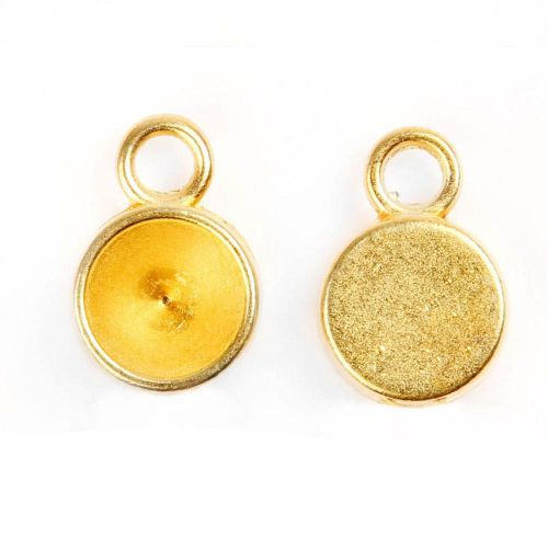 X Gold Plated Zamak Chaton Charm Setting for 8mm(SS39) Crystal Pk2