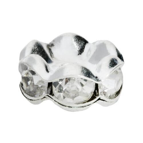 GlitteRing ™ / spacer / round / 10mm / silver crystal / 20pcs