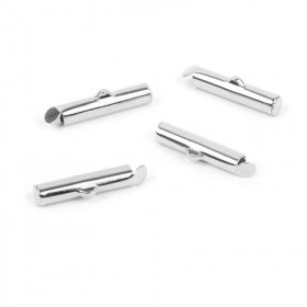 Antique Silver Plated Brass Multi Strand Tube End 4x20mm Pk4
