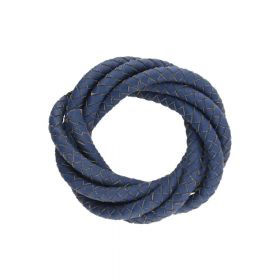 Leather cord / natural / round / braided / 6mm / dark blue / 1m