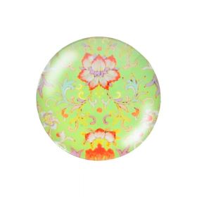 Glass cabochon with graphics K25 PT1350 / green / 25mm / 2pcs
