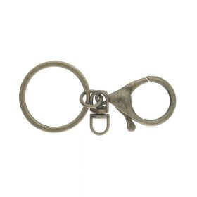 Ring with a lobster clasp for key ring / Antique gold / 2 pcs