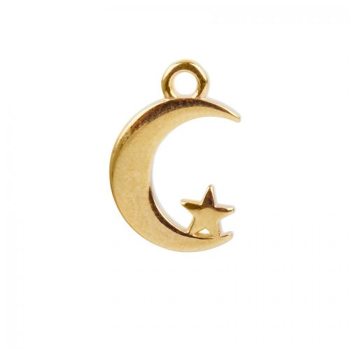 X Gold Plated Zamak Moon Star Charm 12x14mm Pk1