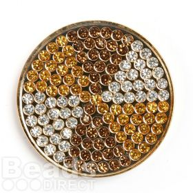 KB Gold Plated Topaz/Yellow Crystal Coin Disk for Interchangeable Locket 32mm Pk1