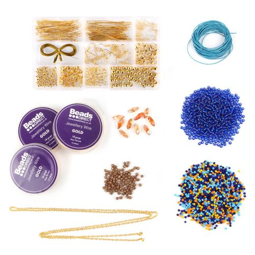 Beads Direct Layered Beaded Pendants Kit - Blue & Gold