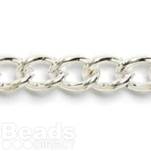 Silver Plated Large Curb Chain 9x12mm 1metre
