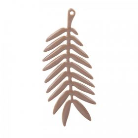 Gold Plated Beige Enamelled Leaf Charm 20x40mm Pk1