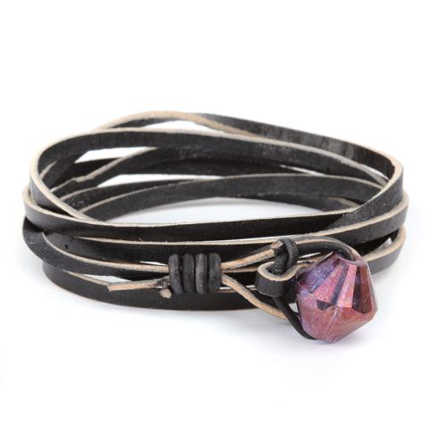 Violet Leather Wrap Bracelet