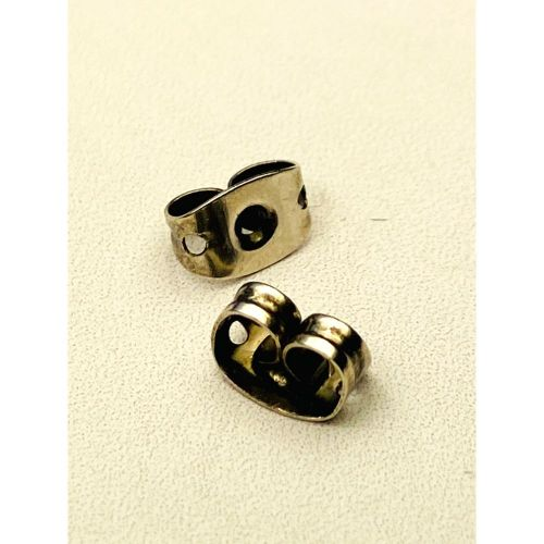Vintage Silver Plated Earring Back/Base 4x6x3mm 1xPair