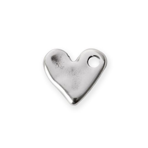 Antique Silver Zamak Irregular Small Heart Charm 16mm Pk2