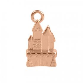 Rose Gold Plated Zamak Castle Charm 11x17mm Pk1