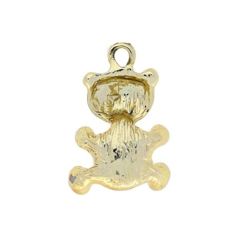 Glamm ™ Teddy Bear with pearl / charm pendant / 9 zircons / 25x17x10mm / gold plated / 1pcs