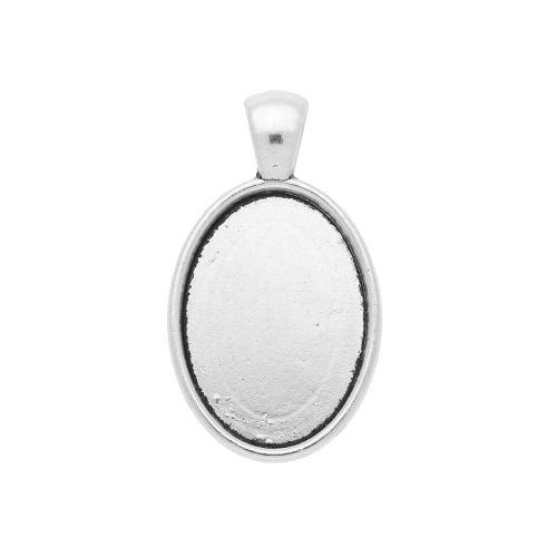 Oval pendant base / for 18x25mm cabochon / 36.5x22x6.5mm / silver / 2pcs