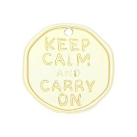 Keep calm and carry on / charm / 33x32x2mm / satin gold / 1pcs