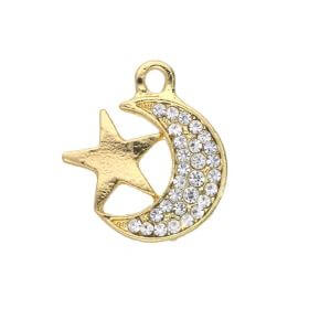 Glamm ™ Moon / charm pendant / with zircons / 18x16x2mm / gold plated / 1pcs