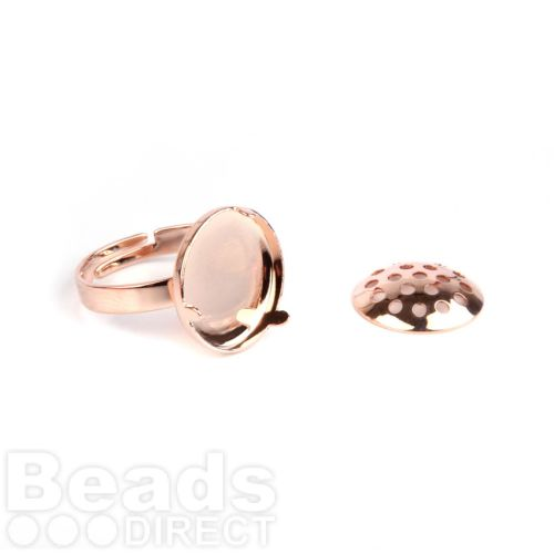 Rose Gold Plated Small Sieve Disk and Adjustable Ring Base 15mm Pk1