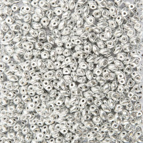 Preciosa Twin Hole Pressed Seed Beads Silver 2.5x5mm 10g